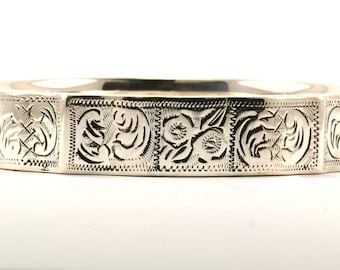 Vintage Ladies Floral Design Bangle Bracelet 925 Sterling Silver BR 1630-E