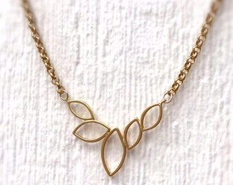 Gold Necklace - Pendant - Funky Jewellery - Chain Jewelry - Mod - Everyday - Fashion