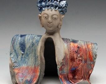 Goddess Kannon Buddha With Blue Hair in Raku Ceramics by Anita Feng