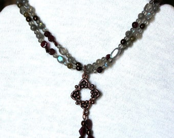 Garnet and Labradorite Gemstone Double Strand Necklace with Copper Connector and Tassle