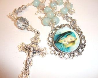Catholic chaplet, pocket rosary, Mother Mary,Sorrowful Mother, one decade rosary, purse rosary, religious gift, 10 bead rosary