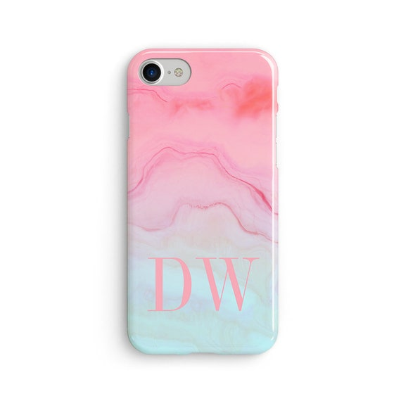 Custom large initial pink to blue marble iPhone X case - iPhone 8 case - Samsung Galaxy S8 case - iPhone 7 case - Tough case 1P080