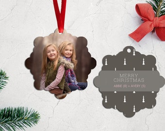 Personalized Photo Christmas Tree Ornament - Double Sided with Ribbon - PG-814