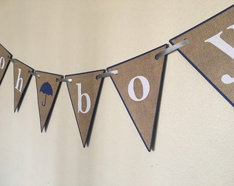 Oh Boy Umbrella Baby Shower Banner