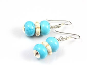 Turquoise and White Howlite Earrings, Dangle Earrings, Southwest Style