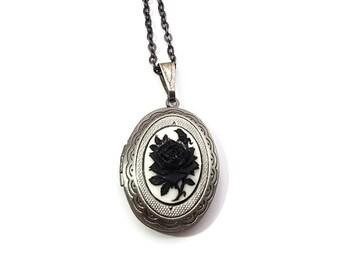 Black Rose Locket-Rose Locket Necklace-Gunmetal Locket-Valentines Gift-Flower Locket-Floral Necklace-Simple Locket-Cameo Locket-Gift for Her