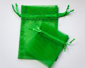Green Organza Bags, Wedding Favor Organza Bags