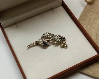 Nostalgic brooch 835 silver leaves RAR SB145