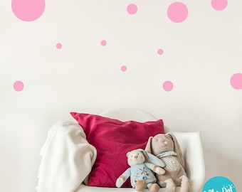 17 Dots - Assorted Size Peel and Stick Polka Dot Wall Decals | 2 inch to 12 inch | 60 + Colors
