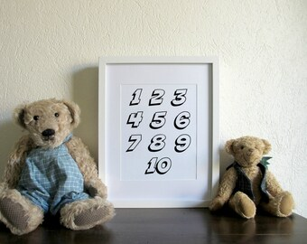 Numbers | Wall Quote | Digital Print | Printable Art | Typography Print | Colouring Print | Wall Decor | Home Print | Nursery Print