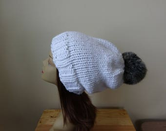 Knit Slouch Hat Faux Fur Pompom Warm Acrylic Winter Hat in Snow White with Black Pompom - Ready to Ship - Gift for Her