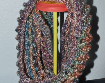 Crochet Jewel Tone Mesh Chunky Neckwarmer Scarf - Blue Purple Green Orange - Cozy and Stylish!