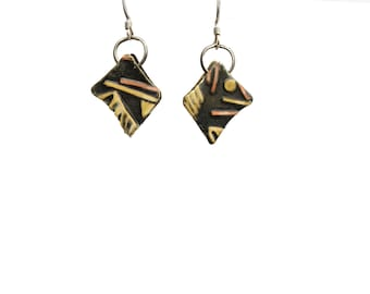 earrings of mixed metals and sterling silver ear wires