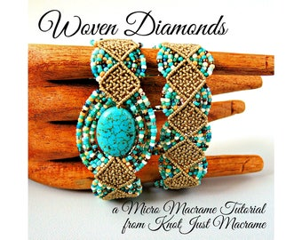 Woven Diamonds Micro Macrame Tutorial - Macrame Bracelet Tut - Pattern - Beaded Macrame - Jewelry Making - DIY