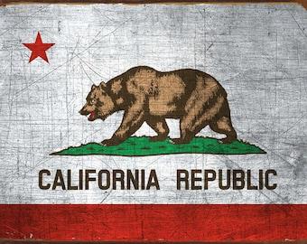 California State Flag Metal Sign, Americana, Rustic Décor, HB7092