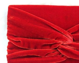 Red Velvet Clutch Purse with Twist Detail