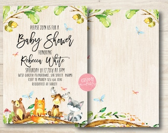 Forest Woodland Animal baby shower invitations, Woodland Baby Shower Invitation, Rustic Invitation, Baby Shower