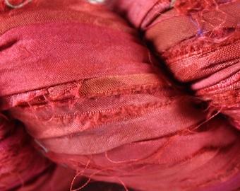Recycled Sari Silk Ribbon - Red