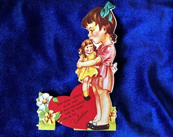 1940's Valentine Die Cut Girl With Doll Card