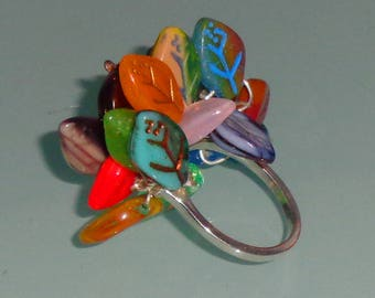 Sterling Silver Cha Cha Ring Colorful Czech Glass Leaves Sterling Silver Wire Wrap