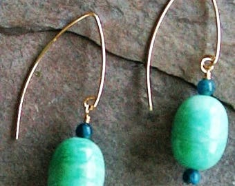 Amazonite and Apatite Dangle Earrings with Gold-filled Earwires - 2""
