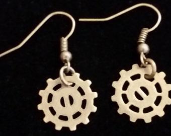 Bronze colored steampunk cog/ gear/ sprocket dangle earrings