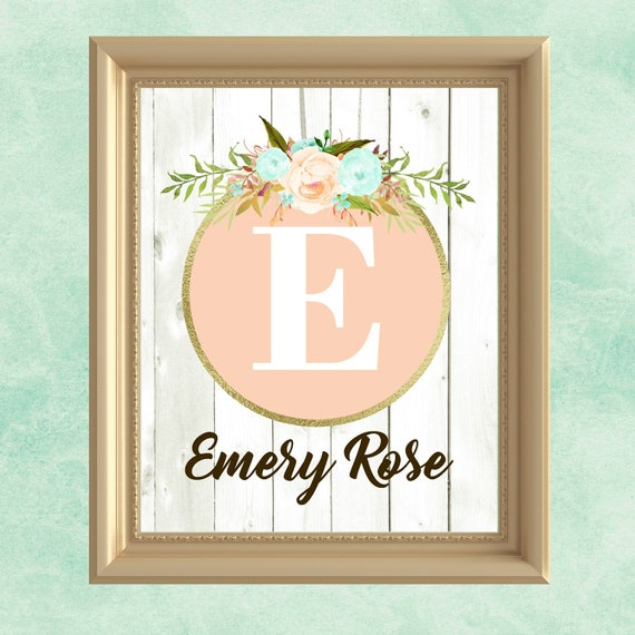 Baby girl nursery wall art peach mint gold nursery decor like this item negle Gallery