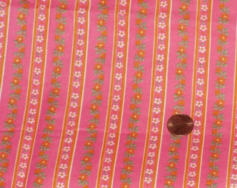 Small Floral Print Fabric 1 Yd Remnant Pink White Orange Green Flowers