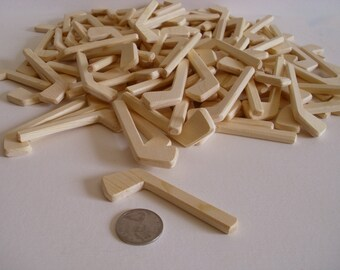 Made to order, Lot of 100 Natural Wood Miniature Ice Hockey Sticks, Themed Wedding, Boutonnieres, DIY Craft Pins, Decor, Jacobs Wooden Toys