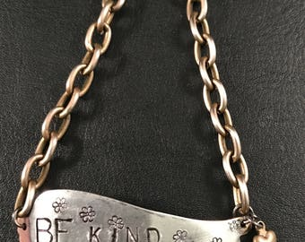 Be Kind Hand Stamped Wing Bracelet, Industrial, Steampunk Jewelry, Lead and Nickel Free Soldered Jewelry,