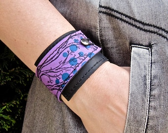 Leather Cuff Women's Wrap Bracelet, Twiggy Print in Black & Purple
