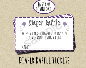 Purple Diaper Raffle Ticket - INSTANT DOWNLOAD - DIY - Printable Tickets