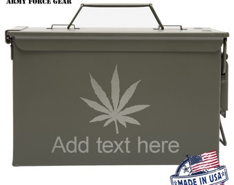 Marijuana Leaf Custom Engraved 30/50 Cal Ammo Can Personalized Dad Gift Cool Guy Gifts Father's Day Gift, Grandpa Gift Groomsmen Hunter 4/20