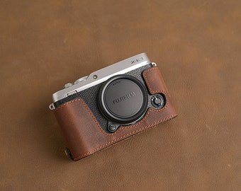 Fujifilm fuji XE3 X-E3 Handmade Half Case Cowhide leather insert Camera bag Protector Holster sleeve SD & battery access door  Made TO Order