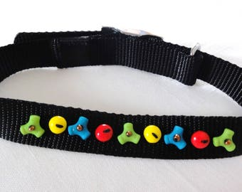 Necklace, dog, black, multicolor beads