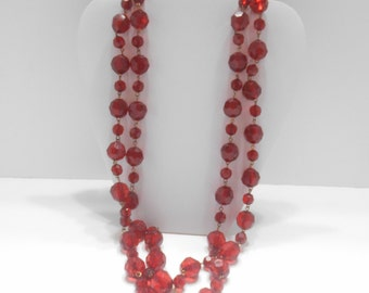 """Gorgeous Vintage Red Lucite Beaded Necklace (9816) 58"""" Long, 9mm & 15mm Beads"""
