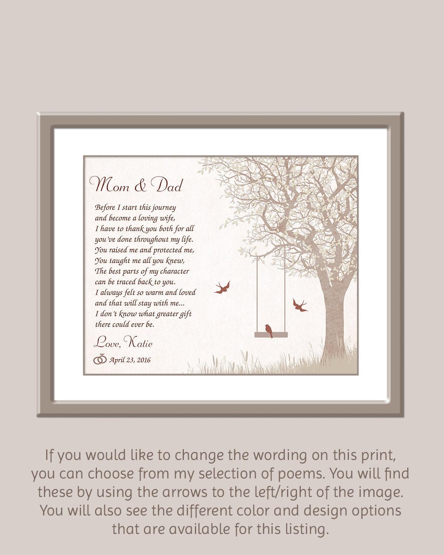 Wedding Gift Parents: Parents Of Bride Gift Wedding Gift For Parents Wedding Day