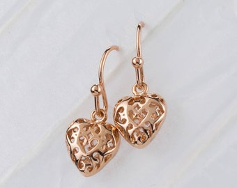 Rose Gold Filigree Loveheart Earrings