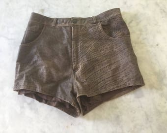 Leather Italian deep brown shorts