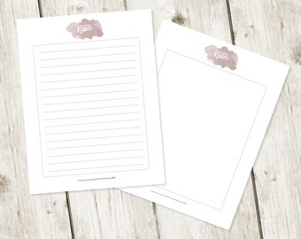 Printable Note Pages 8.5 x 11 Stationery Bullet Journal Note Watercolor Writing Paper Digital Paper Printable Pink Mauve Stationery Set