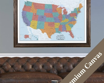 CANVAS Personalized Blue Oceans USA Travel Map - Push Pin Travel Map - Map of the US on Canvas - Track Your Travels - Fun Gift Idea!