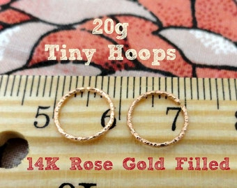 Tiny Hoops in Fancy Rose Gold Filled