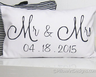 Wedding Date Pillow Engagement Wedding Anniversary White Lumbar Pillow 12 X 18 Couples Black and White Made in Canada
