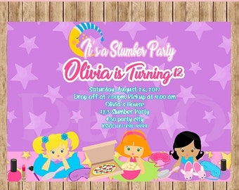50%Off Slumber Party Invitation, Pajama Party, Girl Invitation, Slumber , Girl's Sleepover, Slumber Birthday, Party Girl, Sleepover Invitati