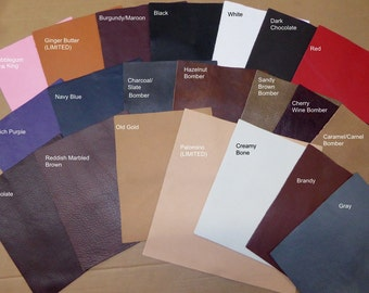 "Leather 12""x12"" KING (Our Premium Full Grain Line of leathers) Your choice of COLOR 2.75-3.25 oz / 1.1-1.3 mm PeggySueAlso™"