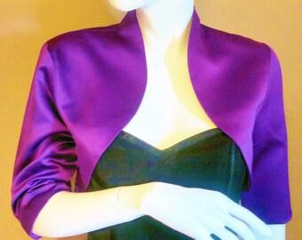 Purple Satin Bolero / Shrug / Cropped Jacket Fully Lined - UK 4-26/US 1-22 3/4 Sleeves - Formal/Wedding/Bridal