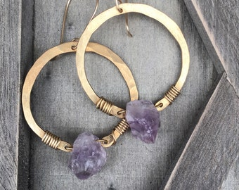 Hoop Earrings Raw Amethyst Earrings Healing Crystal Metaphysical Jewelry Rustic Earrings DanielleRoseBean Raw Gemstone