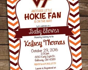 Virginia Tech Hokies Football Baby Shower Invitation - Virginia Tech College Football Birthday Party