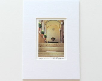 Mini Art Photograph of Italy, Italian Home Decor, Pale Yellow Art Photo, Pastel Travel Photography,Italian Villa,Stocking Stuffer,Matted 5x7