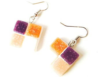 Earrings MOSAIC, pastel squares, tesserae by The Sausage